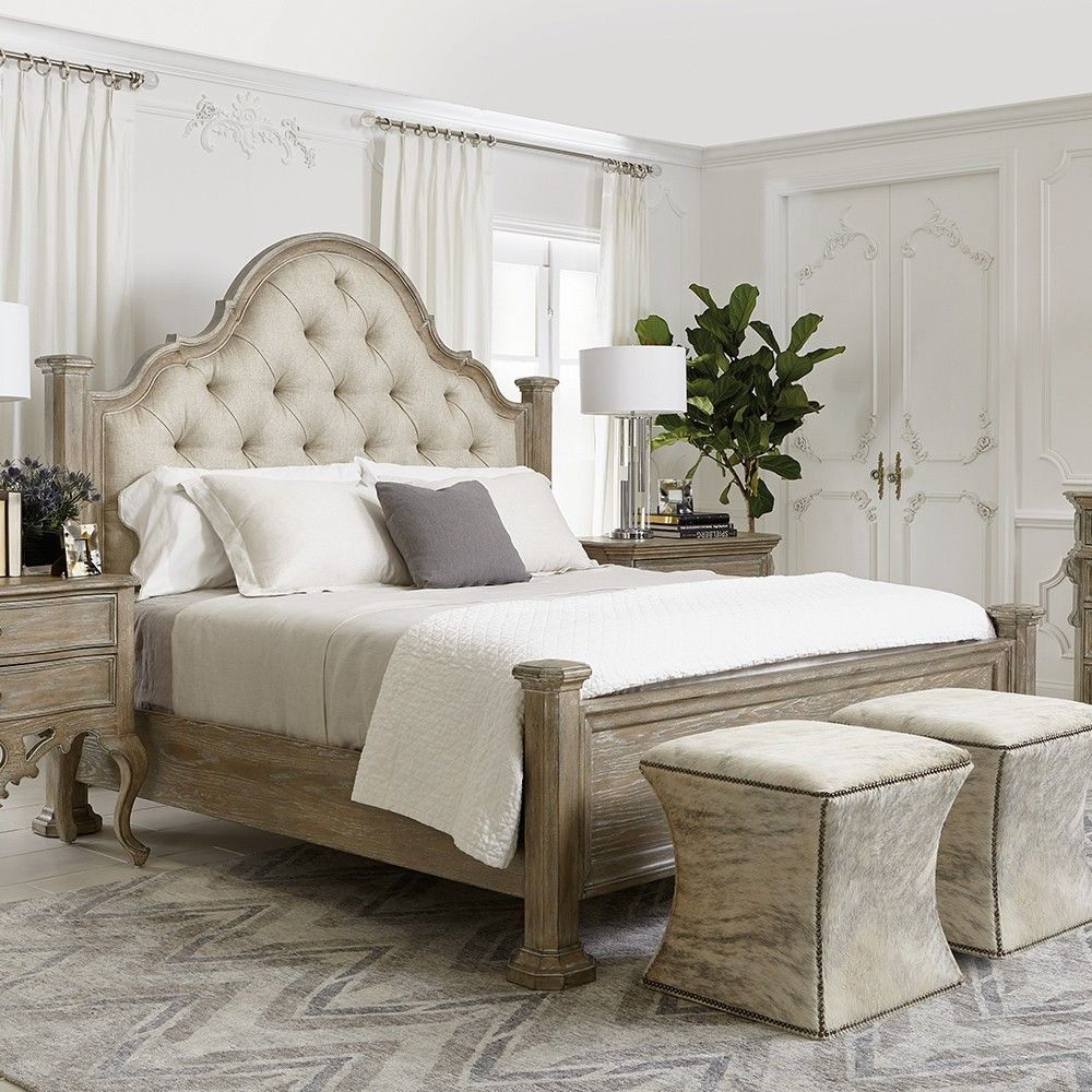 806b83527d Campania Wood & Upholstered Poster Panel Bed in Weathered Sand in ...