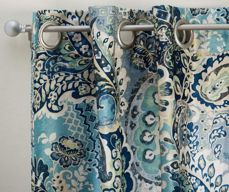 I Found A Lette Aqua Navy Floral Chenille Curtain Panel Pair