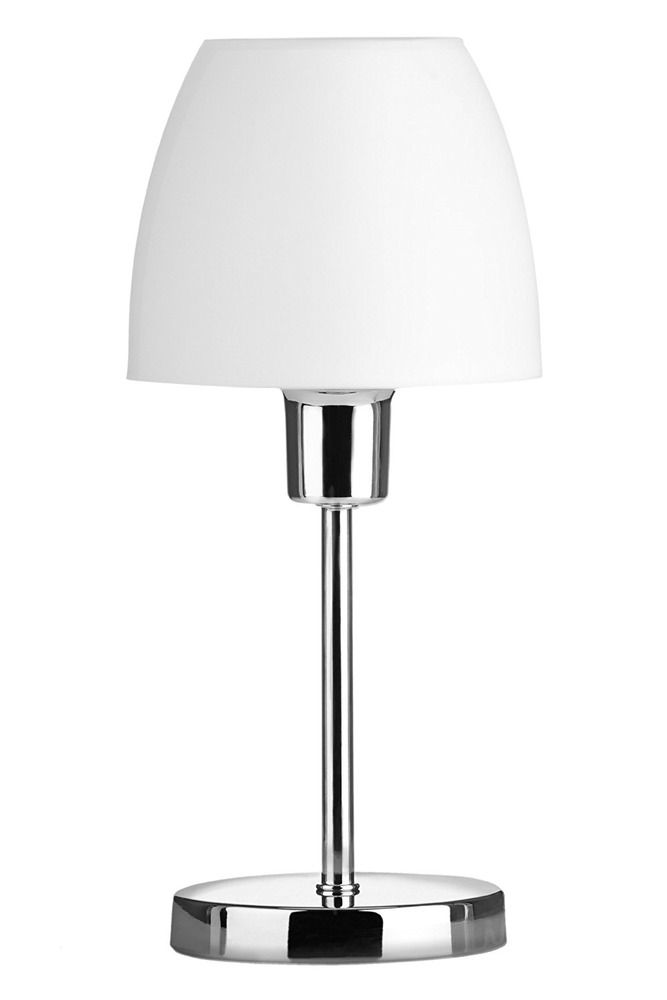 Chrome Table Lamp Bedside Night Read Light On Off Switch Plastic Shade White E14 Premierhousewares Minimalist Lamp Table Lamp Chrome Table Lamp