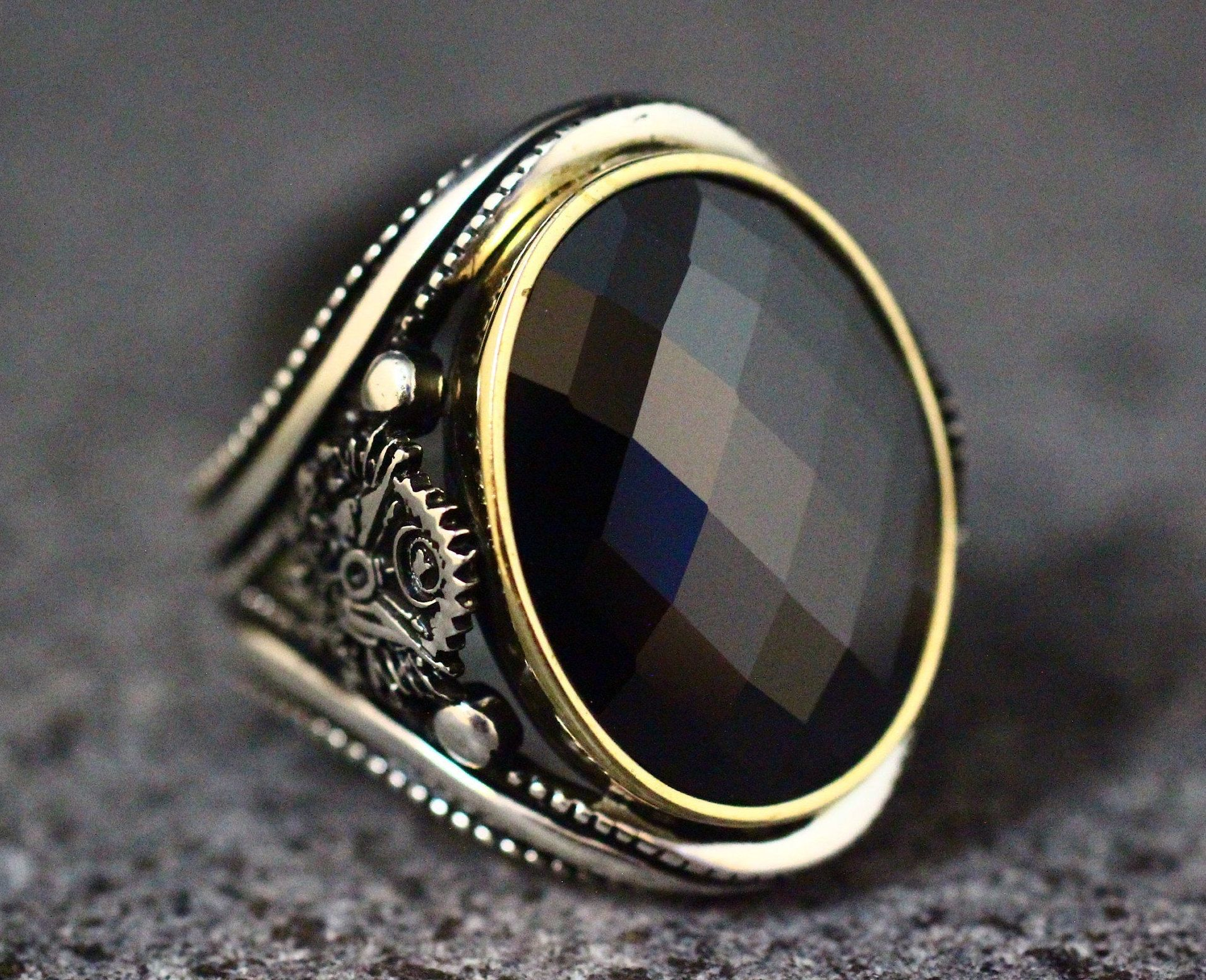 Ring Real sterling silver 925 art design jewelry free express shipping ring Gift Mens gift Ring Handmade Silver Onyx Men Rings