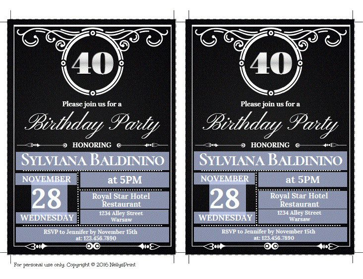 40th Birthday Invitation Vintage Party Adult Invitations Self Editable PDF Instant Download