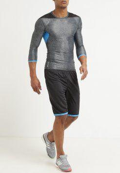 adidas Performance - TECHFIT CLIMACHILL - Sportshirt - black melange/chill blue