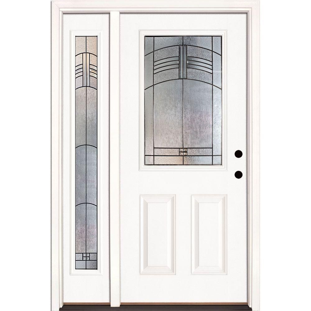 Feather River Doors 50 5 In X 81 625 In Rochester Patina 1 2 Lite Unfinished Smooth Left Hand Fiberglass Prehung Front Door With Sidelite 873190 1a4 Fiberglass Entry Doors Entry Door With Sidelights Front Door Hardware
