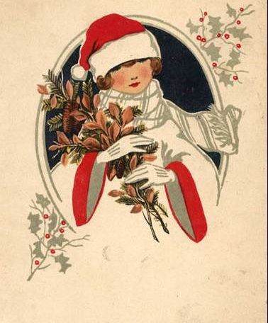Christmas Notecard with Envelope Vintage Christmas Deck the  Halls Single Card