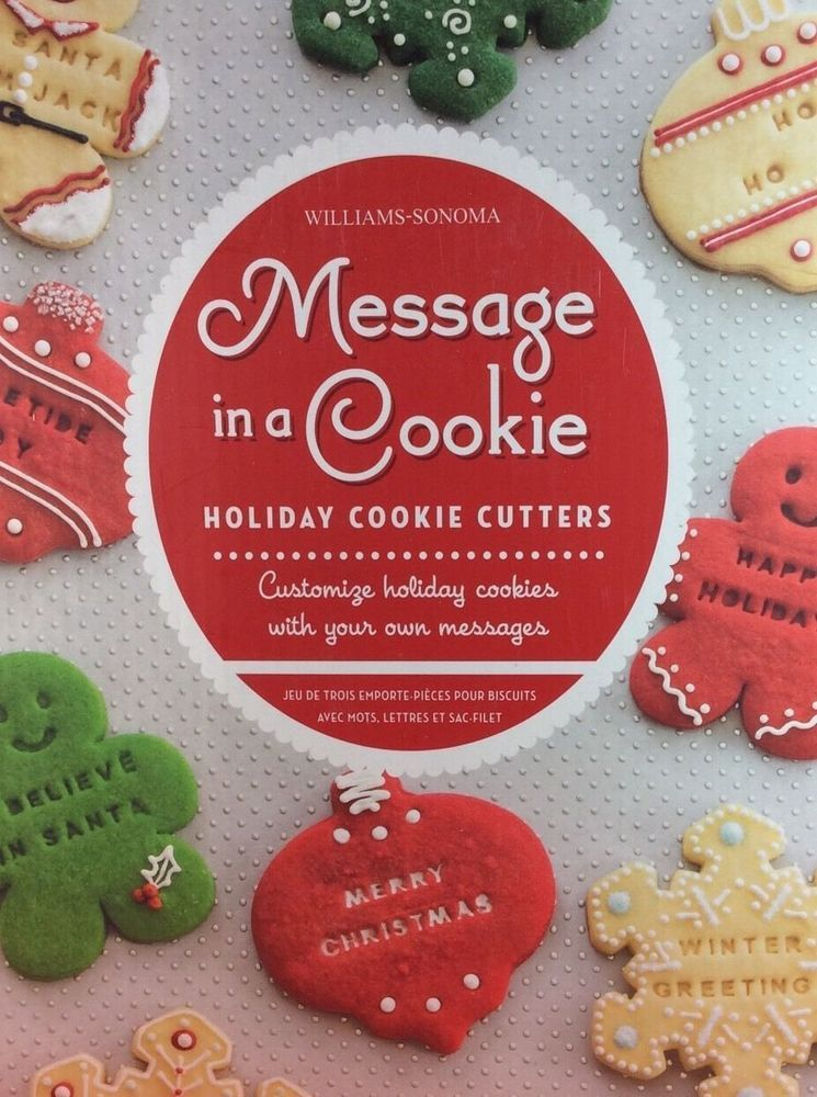 Williams Sonoma Message In A Cookie Christmas Holiday Cookie Cutters
