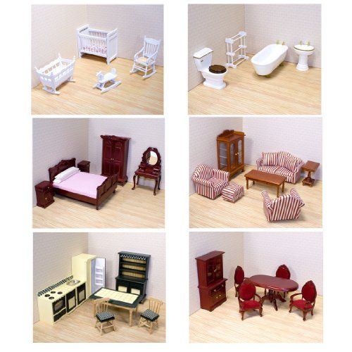 Melissa Doug Deluxe Doll House Furniture Bundle