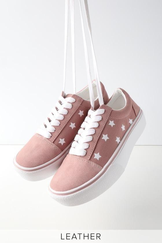 Lulus Emile Suede Leather Star Print Sneakers - Lulus