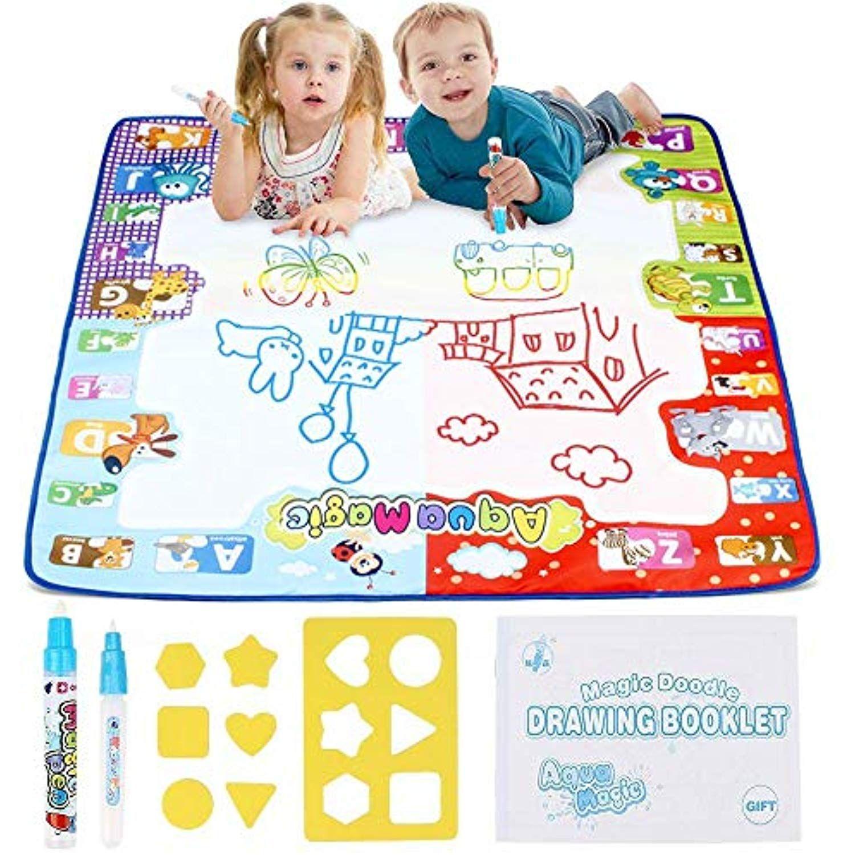 Mummed Water Doodle Magic Mat Kids Toys Aqua Drawing Mat Toddlers Painting Board Neon Colors Large Size 31x 31 2 M Toddler Painting Kids Toys Themed Stickers
