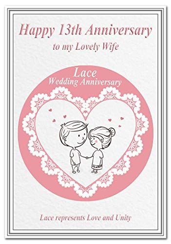 13th wedding anniversary cards lace 13 thirteen year happ