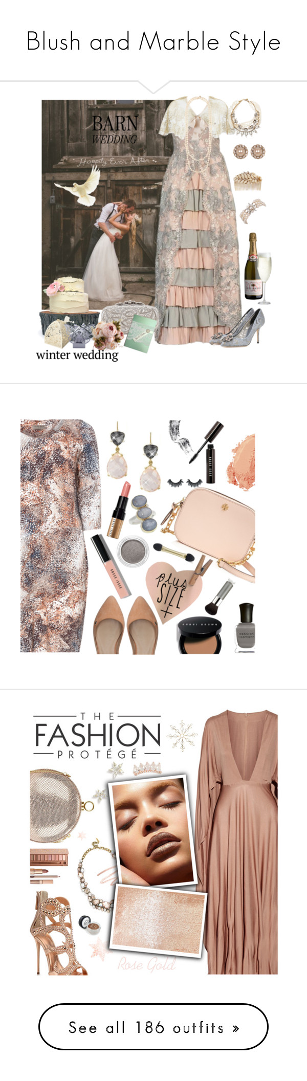 """Blush and Marble Style"" by yours-styling-best-friend ❤ liked on Polyvore featuring Gilda & Pearl, Dolce&Gabbana, Oscar de la Renta, Lulu Frost, Marchesa, Miriam Haskell, Chanel, Crate and Barrel, vintage and Open End"