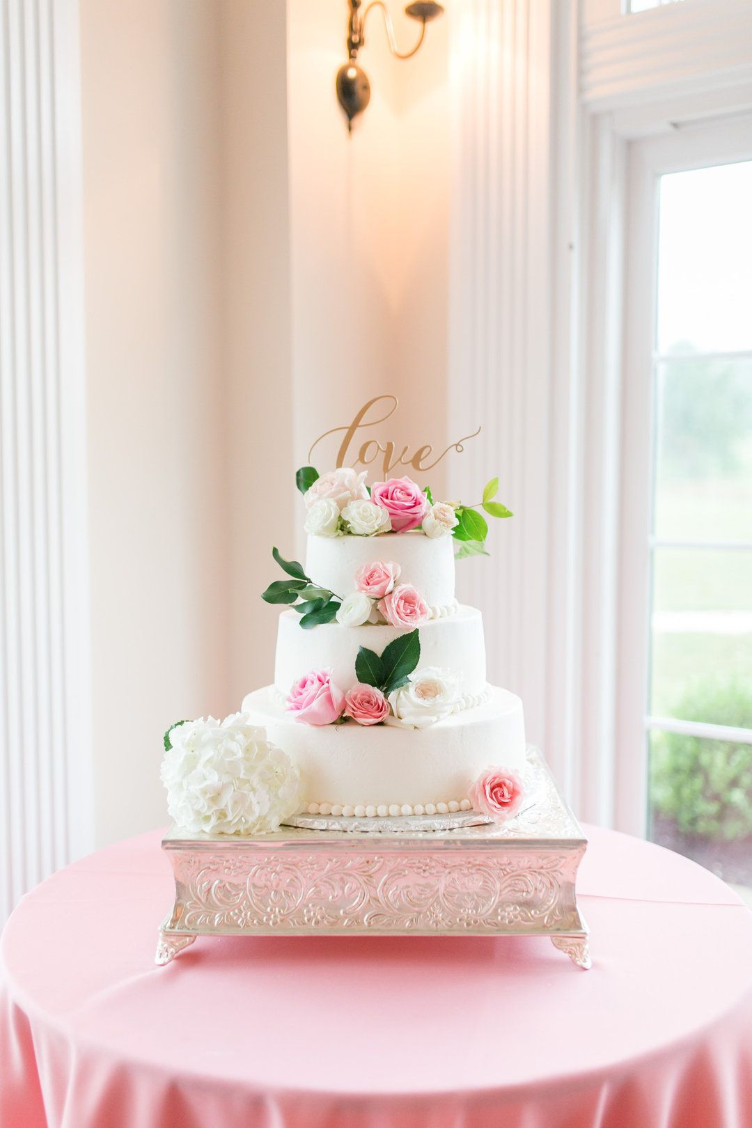 Wedding cake ideas, pink and white roses, glam silver cake stand ...