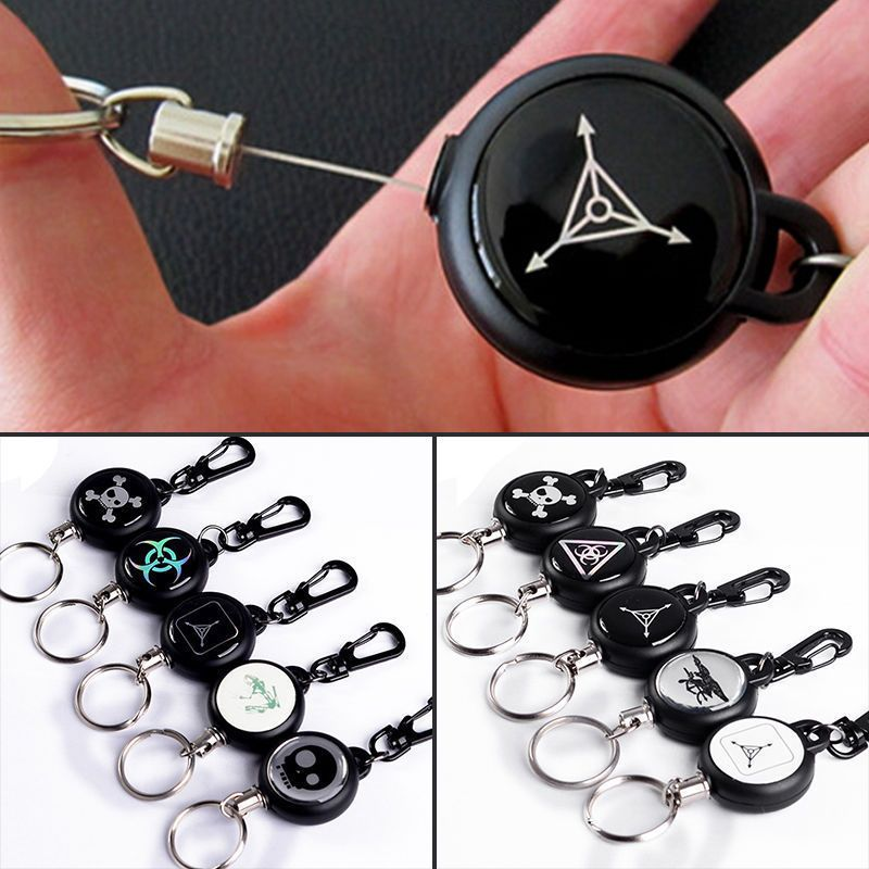 60Cm Steel Wire Rope Retractable Carabiner Survival Keychain Keyring Black U c5d89ff058