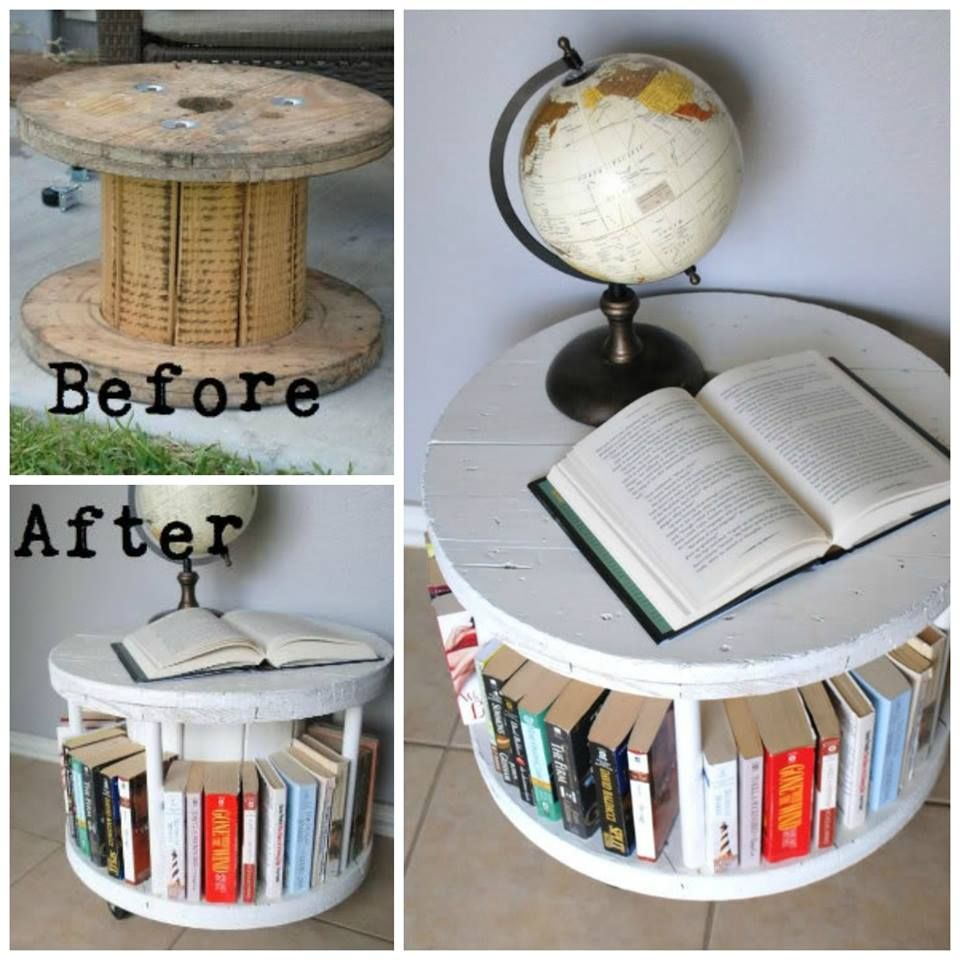 Turn a Cable Spool into a Bookshelf...awesome upcycle idea! | DIY ...