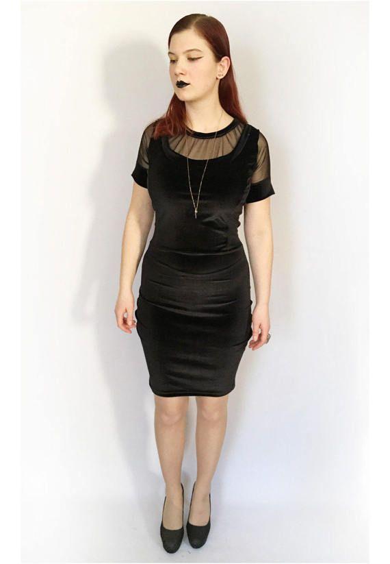84d6ab885dd Ready to ship- Black Velvet Pencil Dress
