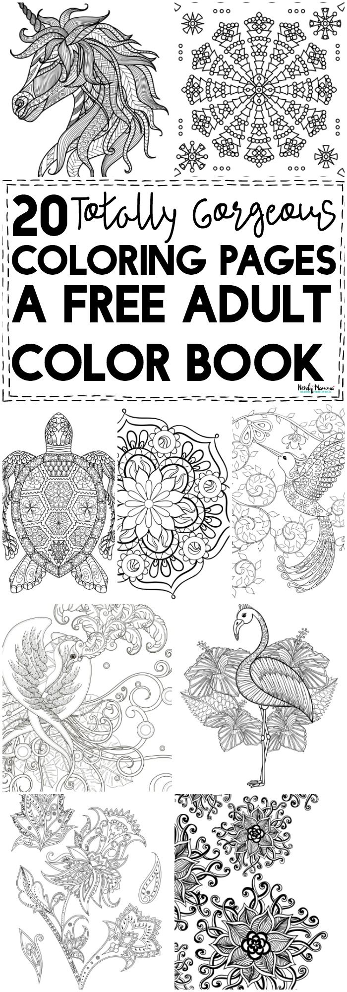OMG You HAVE to check out this free adult color book! It\'s got 20 ...