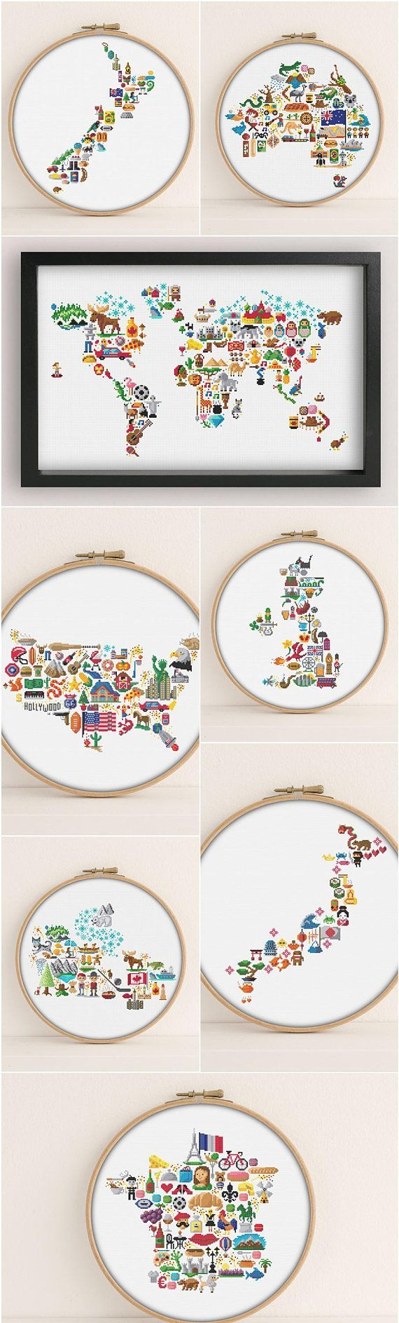 Photo of Set of 7 Maps & 1 World Map cross stitch patterns – PDF Pattern – United Kingdom – America – Australia – New Zealand / Japan / Canada / USA