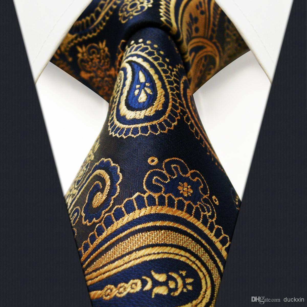85ab72828012 U10 Multi Color Gold Blue Navy Paisley Mens Tie Neckties Jacquarhsia Dark  Gray Grey Mens Ties 100% Silk Jacquard Woven Bow Ties Cravat From Duckxin,  ...