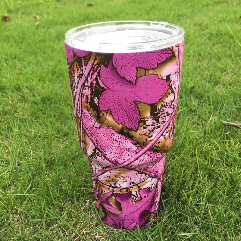 Wholesale Blanks Car Tumblers 30 OZ Pink Camo Stainless