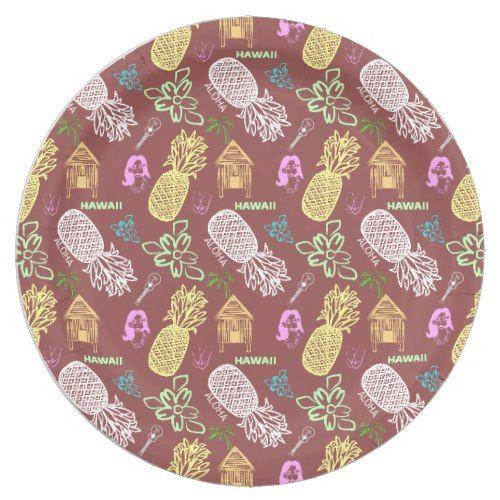 Hawaiian Luau Pattern Paper Plate | Pineapple Birthday Party | Pinterest | Hawaiian luau Pattern paper and Luau  sc 1 st  Pinterest & Hawaiian Luau Pattern Paper Plate | Pineapple Birthday Party ...