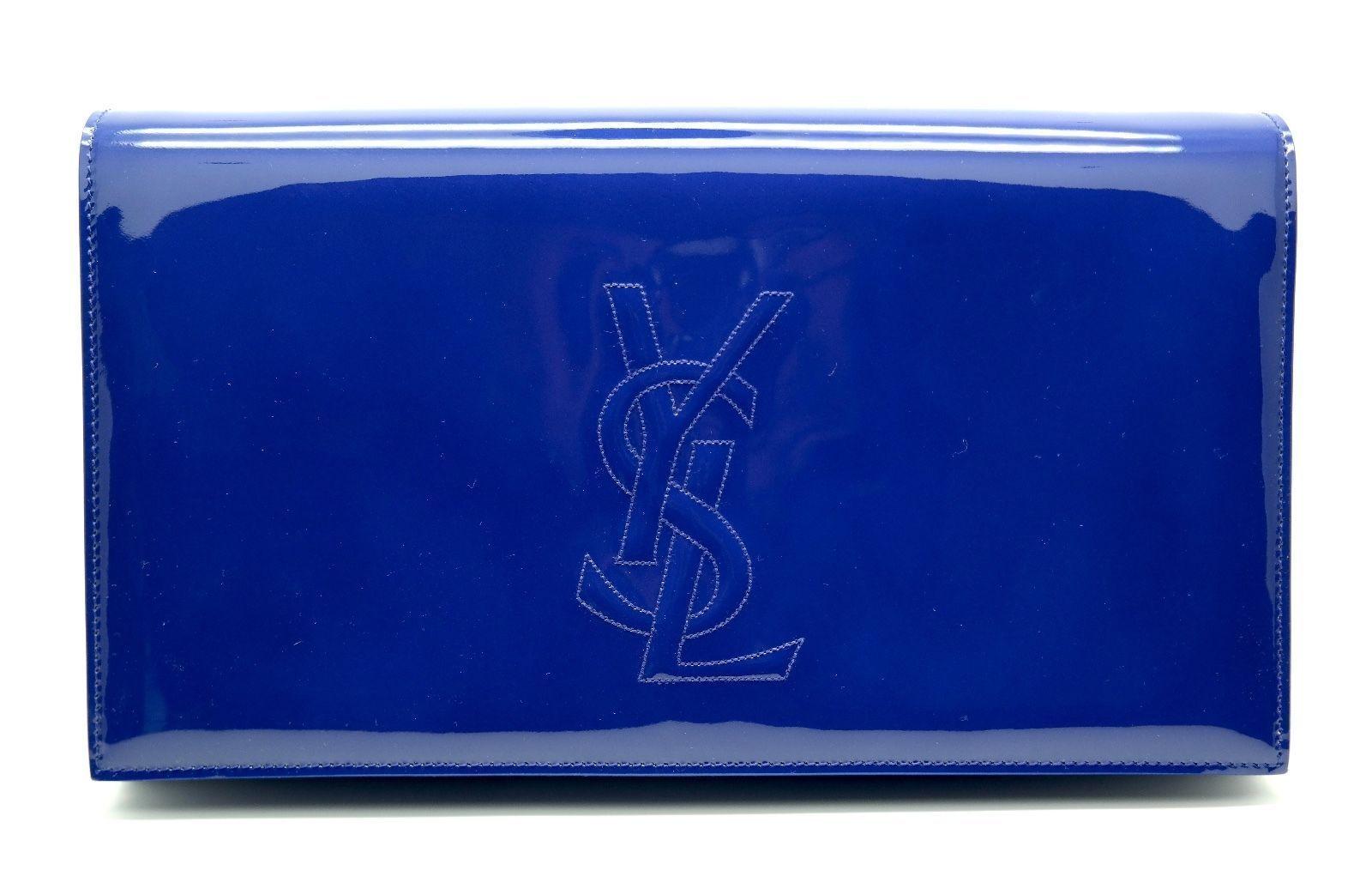 1cb0d1a34cf Authentic Classic YSL Saint Laurent Belle De Jour Clutch Large Blue Patent