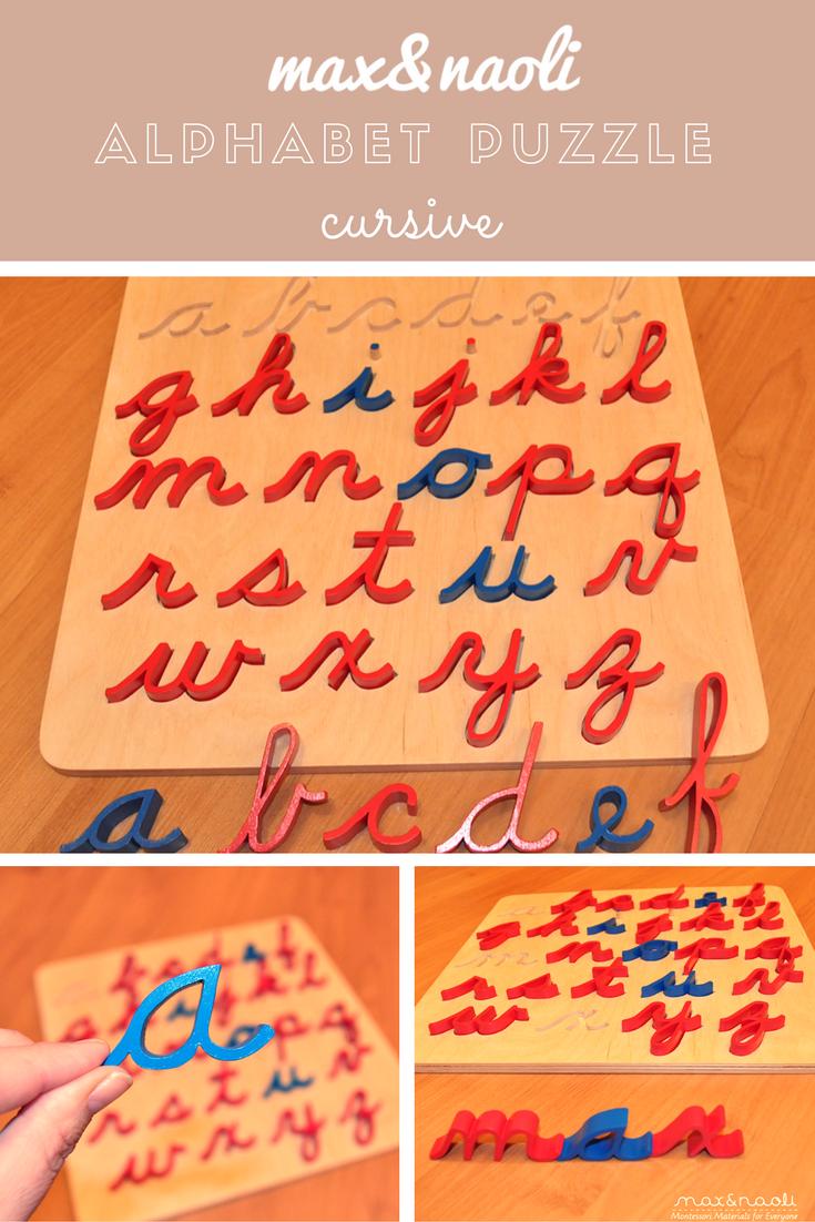 Montessori Curisve Alphabet Puzzle Cursive alphabet