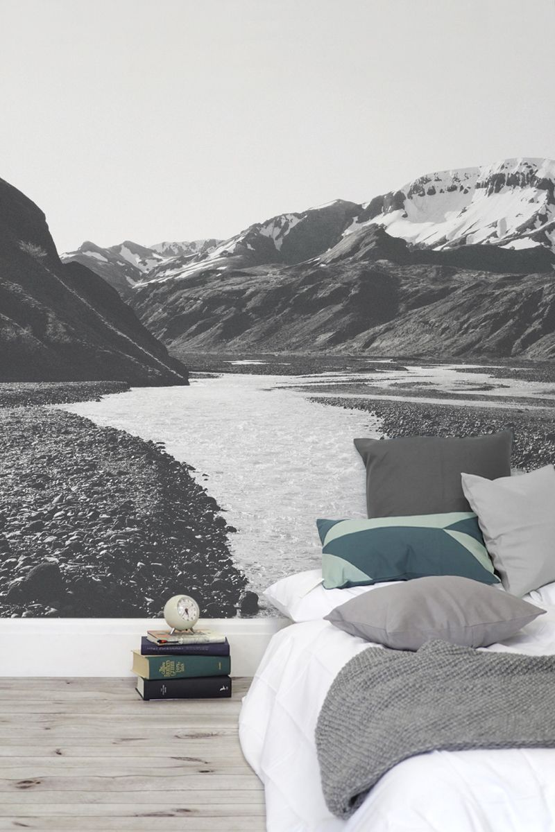 You can almost hear the fresh meltwater trickling through the stones with this landscape wallpaper mural. The black and white tones accentuates all the different textures in this peaceful outdoor scene. Perfect for nature lovers and creating a bedroom with a view.