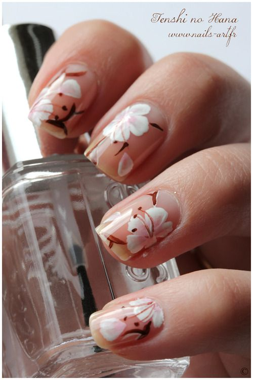 Cherry Blossom Nails On Tumblr Floral Nail Art Cherry Blossom Nails Flower Nail Art