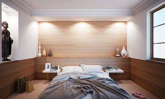 Faretti faretti a incasso con luce indiretta come illuminazione camera da letto