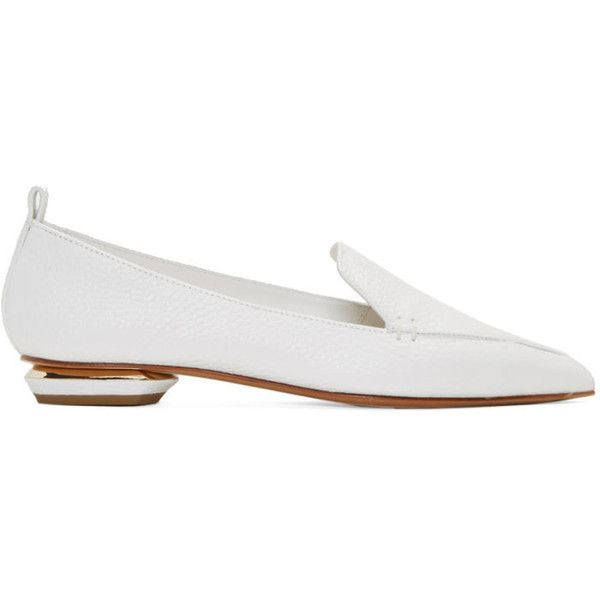 Nicholas Kirkwood White Leather Beya Loafers (3,150 HKD) ❤ liked on Polyvore featuring shoes, loafers, white, pointed toe shoes, block heel shoes, genuine leather shoes, white block heel shoes and white pointed toe shoes