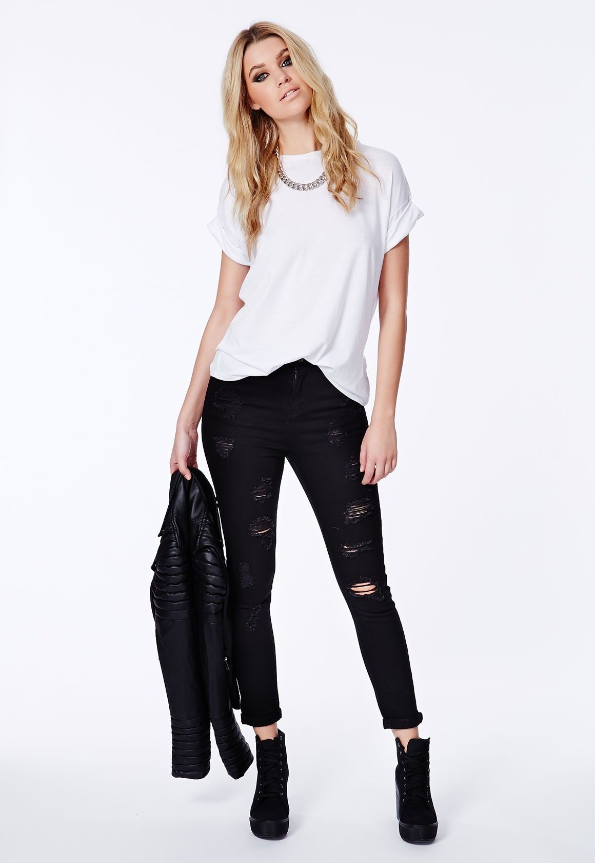 Perfect Black Distressed Jeans Outfit : Black Skinny Jeans ...