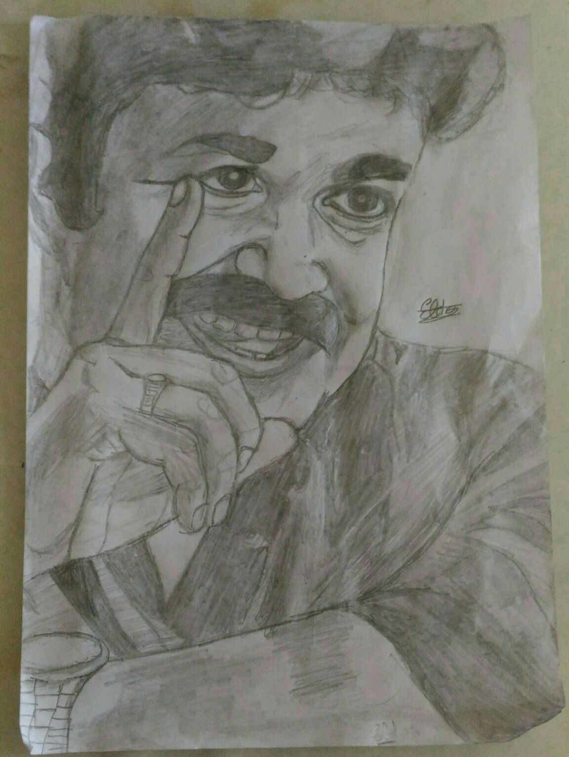 Mohanlal pencil drawing image