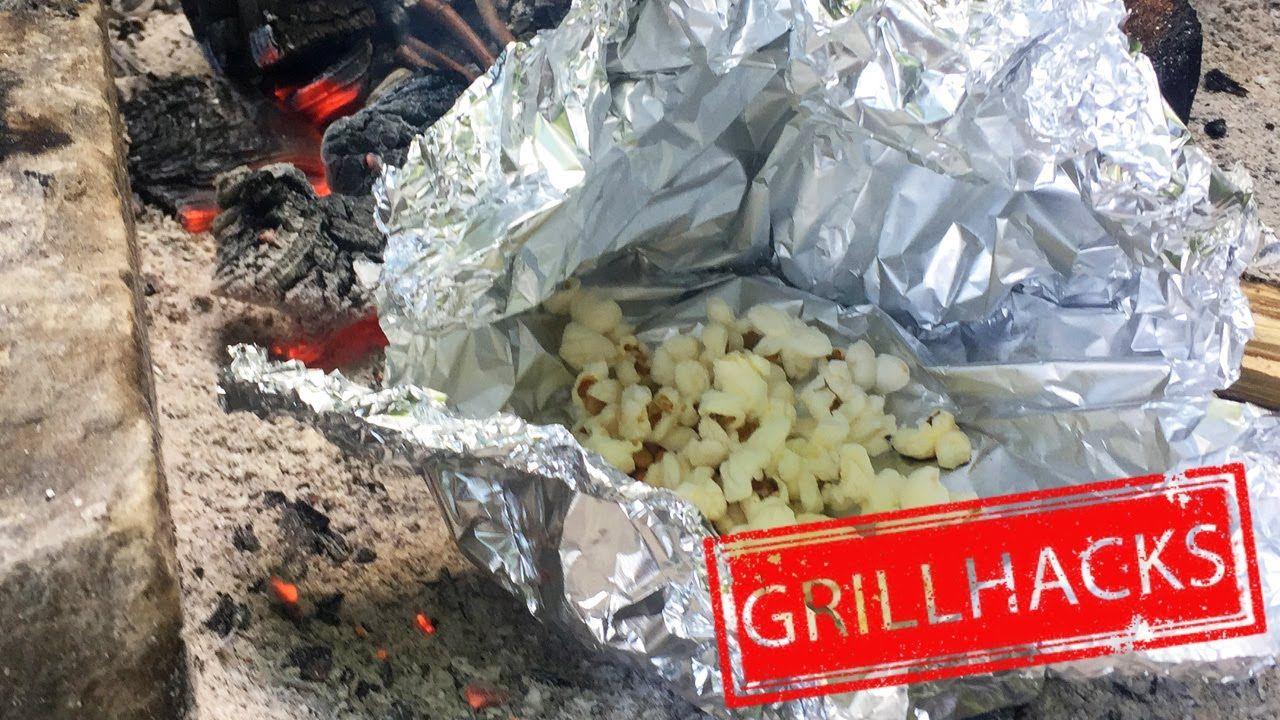 popcorn ber dem lagerfeuer zubereiten grill popcorn selber machen lifehackerin pinterest. Black Bedroom Furniture Sets. Home Design Ideas
