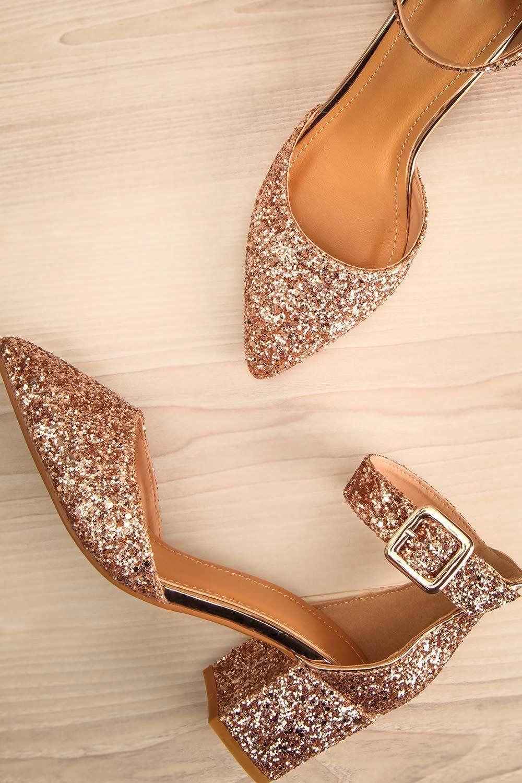 Rose gold glitter low block heel shoes
