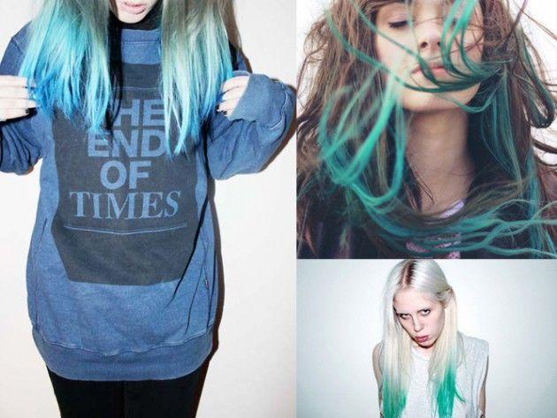 tips ombre hair blue green brunette