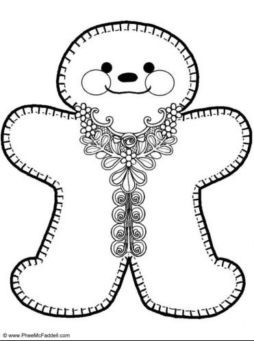 Gingerbread Girl Coloring Sheet Embroidery Pinterest
