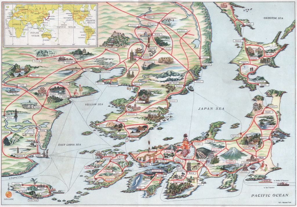 japanese empire east asia 1940 tourist map of the japanese empire c depicting the home islands right