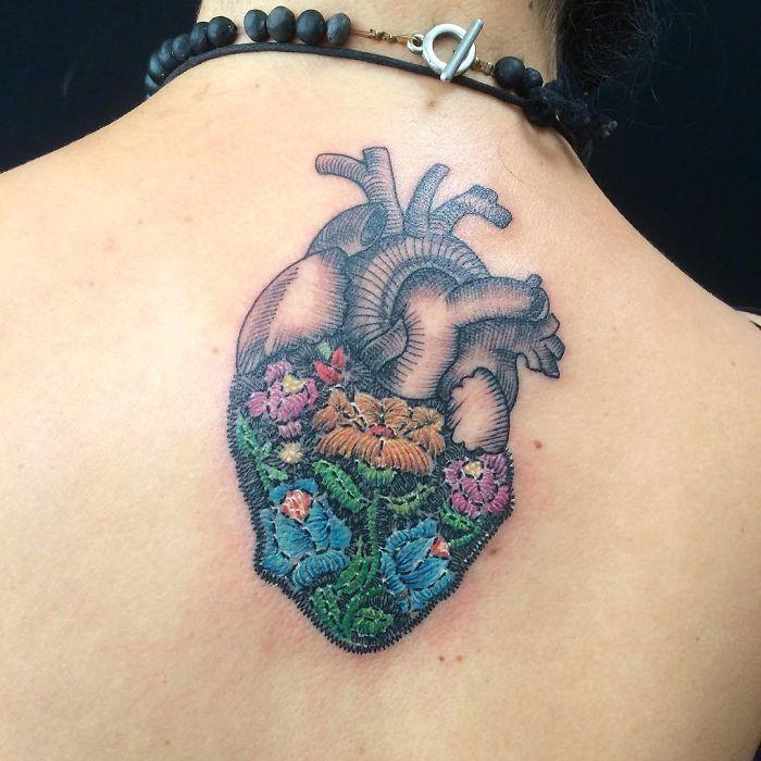 Stiched Leg Tattoo: Cross-Stitch-Embroidery-Tattoo