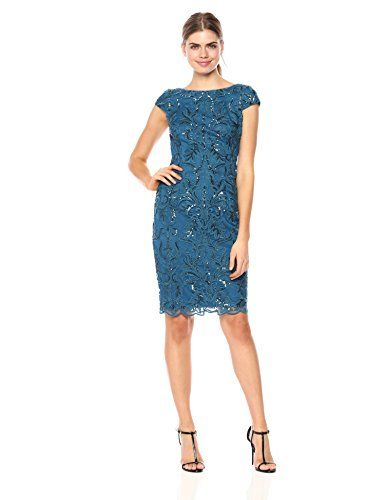db86c96675e Adrianna Papell Womens Sequin Scroll Cap Sleeve Dress Evening Sky 16      Click image to review more details.-It is an affiliate link to Amazon.