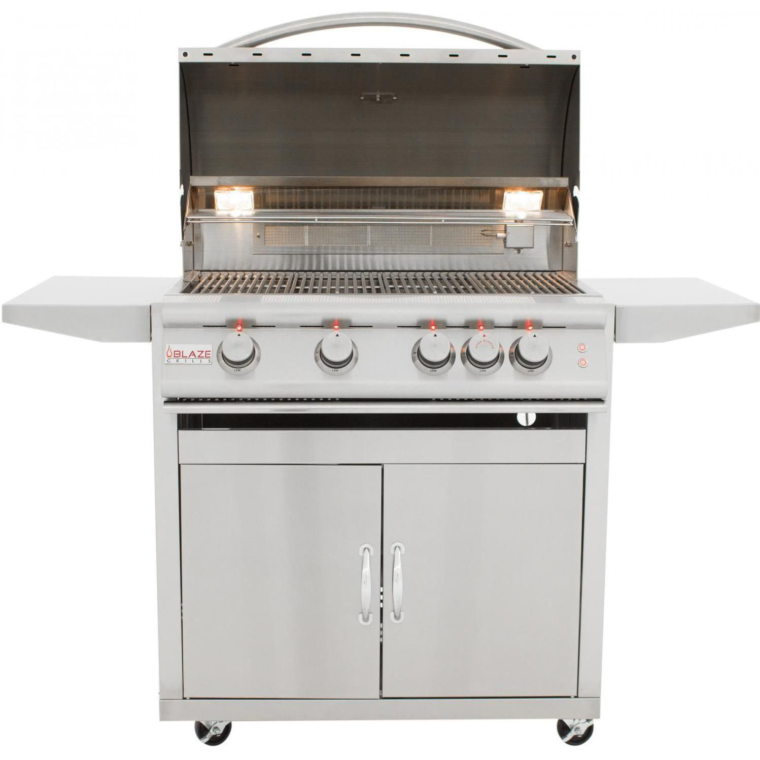 Blaze Outdoor Products Lte 32 4 Burner Propane Gas Grill With Rear Infrared Burner Grill Lights Blz 4lte2 Lp Blz 4lte2 Lp Blz 4 Cart Propane Gas Grill Outdoor Kitchen Cabinets Gas Bbq