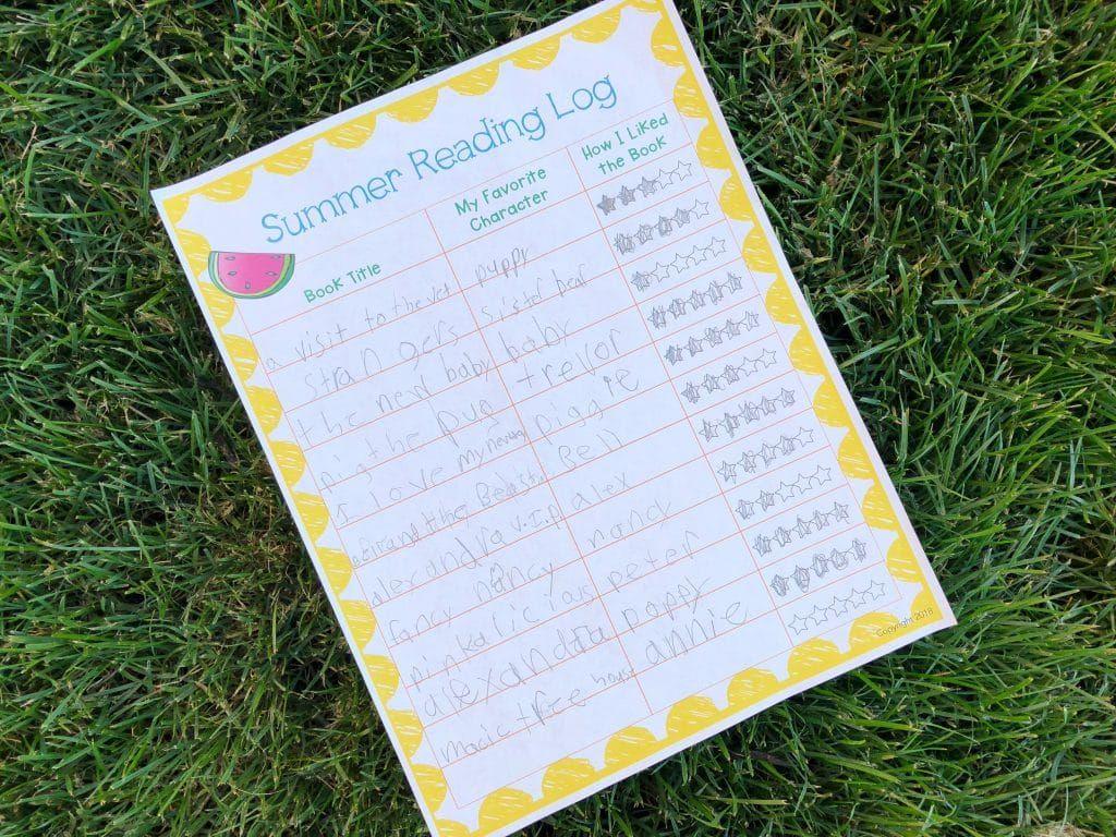 A Fun Summer Reading Log For Kids Free Printable