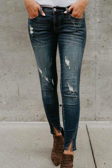 Poppoly Split Ankle Denim Jeans | Cool outfits, Denim jeans