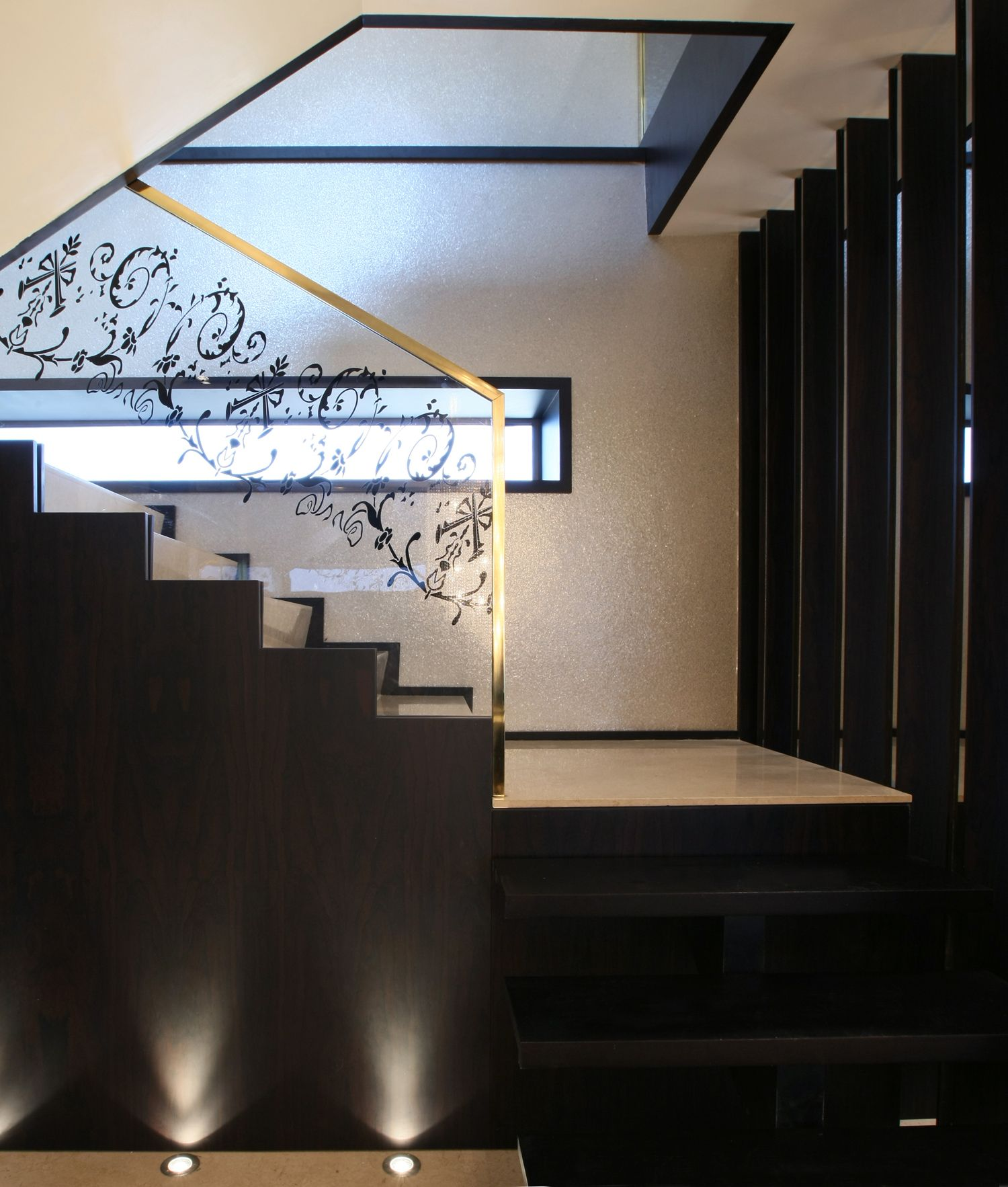 modern luxury staircase....glass engraved balustrade with ...
