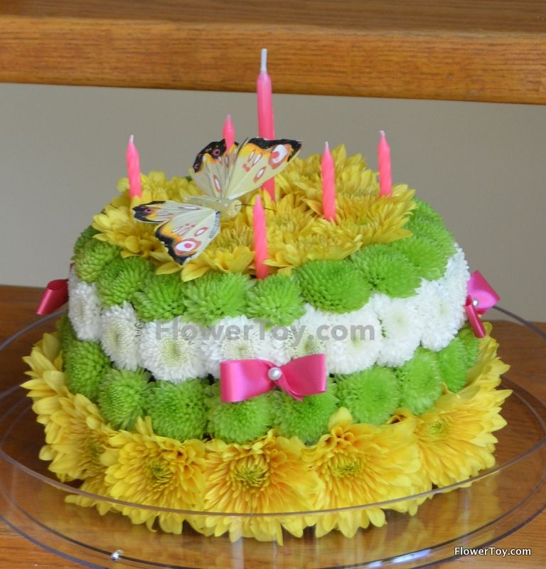 Birthday Cake Made From Fresh Flowers
