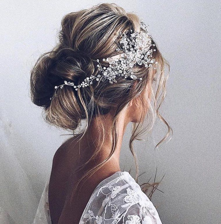 Textured updo wedding hairstyle