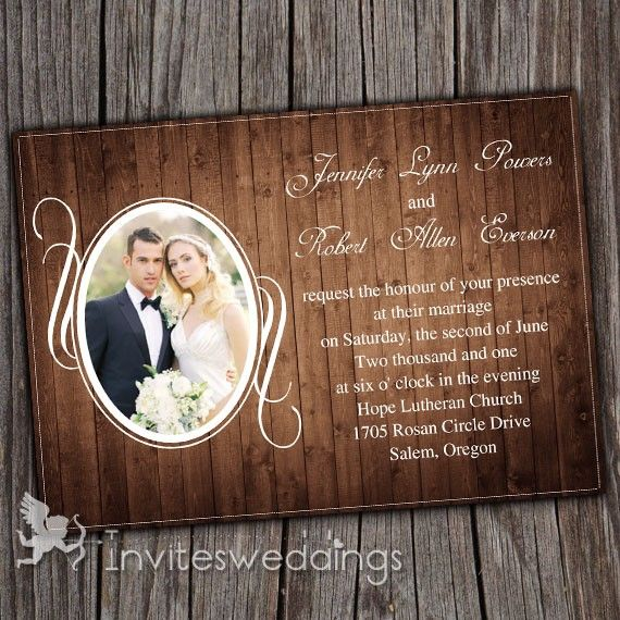 Vintage Rustic Wood Background Photo Wedding Invitations IWI257