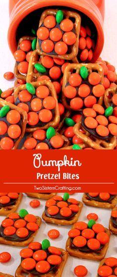 Pumpkin Pretzel Bites Recipe fall crafts idea Halloween treats