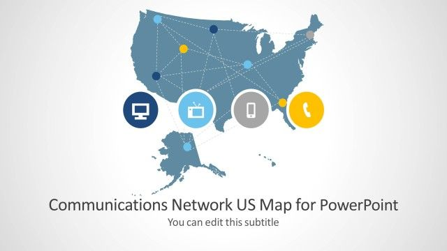 Communications Network Template With Us Map For Powerpoint - Us-map-powerpoint-template