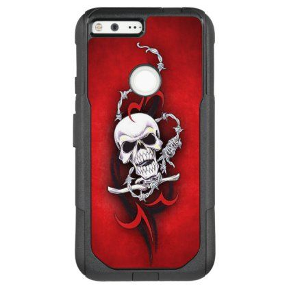 Photo of Tribal Skull Barbed Wire Red Grunge Tattoo OtterBox Commuter Google Pixel XL Case | Zazzle.com