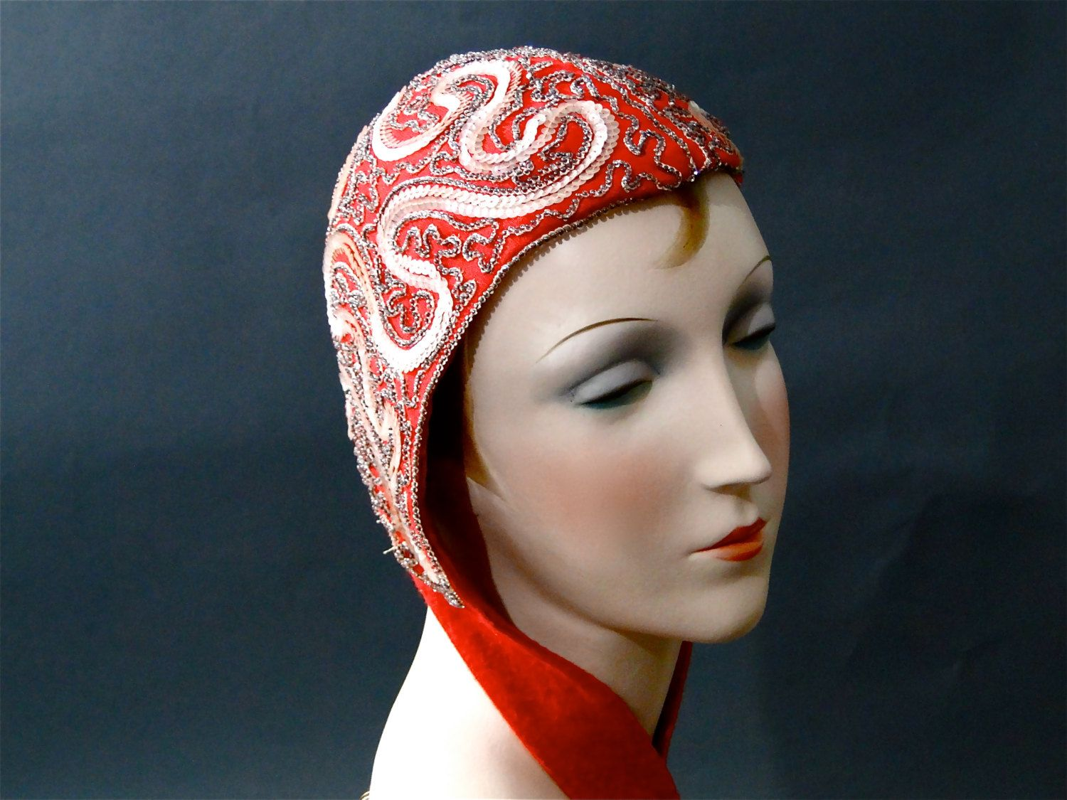 1930s vintage red cap beaded winter hats art deco beautiful