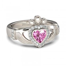 Crown Shape Heart Cut Created Pink Sapphire Rhodium Plated 925 Sterling Silver Claddagh Ring / Engagement Ring